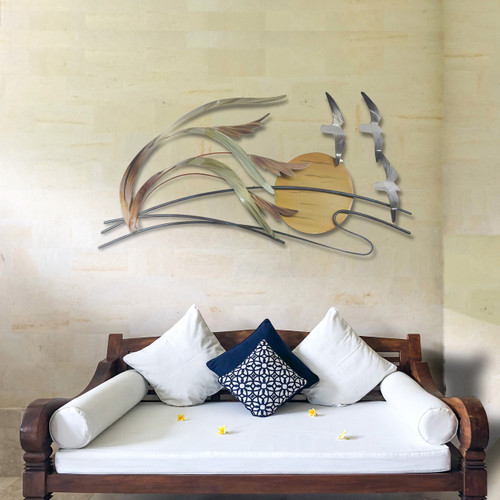 "(CO142) 34"" ""Seagulls and Sea Oats"" Stainless Steel Wall Sculpture - Lifestyle"