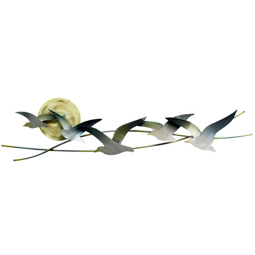 """(CO147) 35"""" """"Seagulls with Sun"""" Metal Wall Sculpture"""