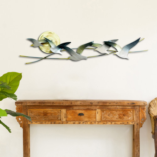 "(CO147) 35"" ""Seagulls with Sun"" Metal Wall Sculpture - Lifestyle"