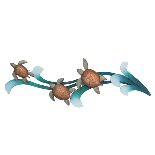 "(CW040) 45""  ""Sea Turtle Splendor"" Metal Wall Sculpture"