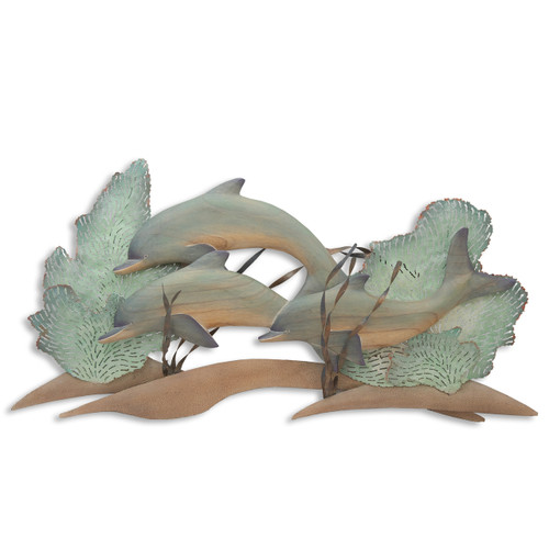 """(CW153) 42""""  """"Dolphin Trio at the Reef """" Hand-Carved Wood and Metal Wall Sculpture - Neutral Tones"""