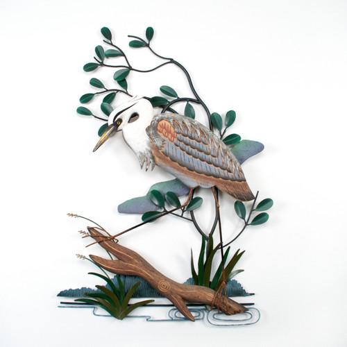 "(CW275X) 30.5""  ""Left Facing Blue Heron"" Hand-Carved Wood and Metal Wall Sculpture"