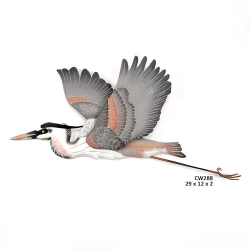 "(CW288) 29"" ""Great Blue Heron Flying"" Hand-Carved Wood and Metal Wall Sculpture"