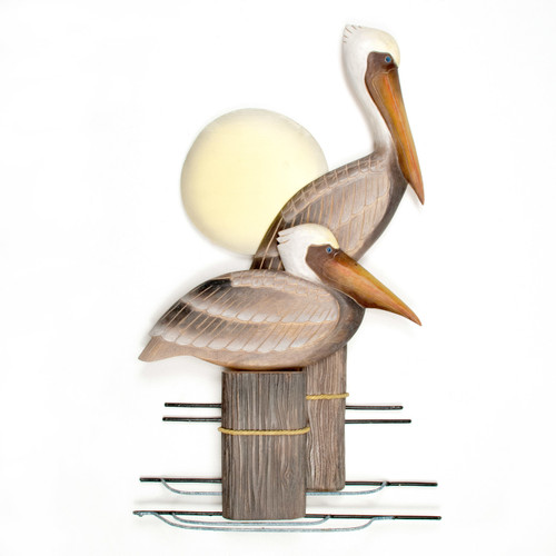 "(CW325) 28"" ""Pelican Pair"" Hand-Carved Wood and Metal Wall Sculpture"