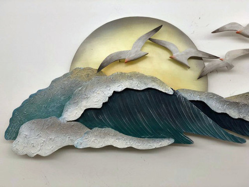 "(CW330) 46"" ""Seagull Waves"" Metal Wall Sculpture - Closeup 1"