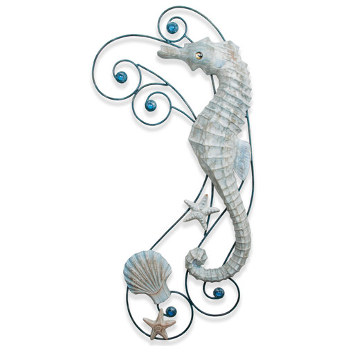 "(CW483) 35"" ""Antique Seahorse Wave""  Hand-Carved Wood and Metal Wall Sculpture - Graywash"