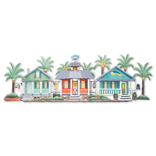 "(OS417) 54"" ""Caribbean Village""  Metal Wall Sculpture - Front View"
