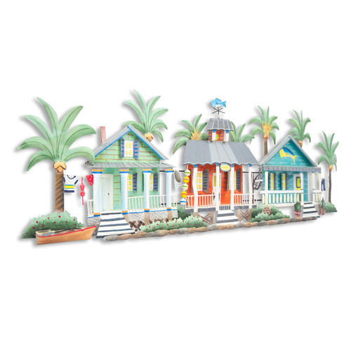 "(OS417) 54"" ""Caribbean Village""  Metal Wall Sculpture - Angled View"