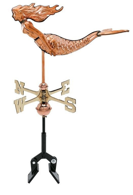 """(MDWV-518P) Cottage Size 19"""" Copper Mermaid Weather Vane Shown With Aluminum Mount (Sold Seperately)"""