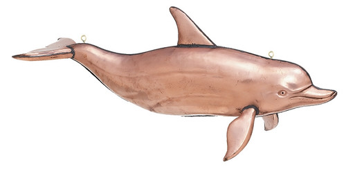 """(MDWVH-101P POL) Large 40"""" Hanging Polished Copper Dolphin"""