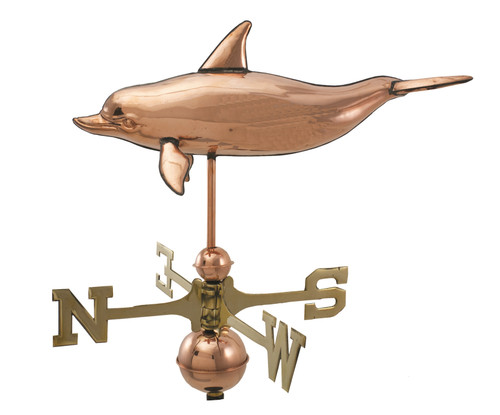 "(MDWV-517P-GS) Cottage Size 22"" Dolphin Copper Weather Vane"