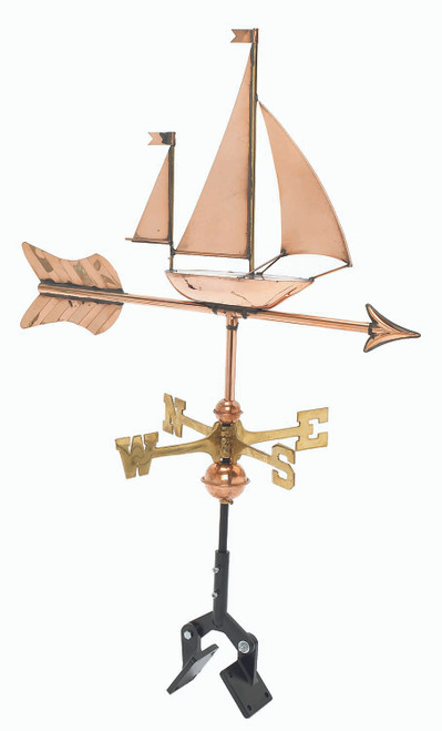 "(MDWV-500P) Cottage Size 21"" Copper Sailboat Weather Vane"