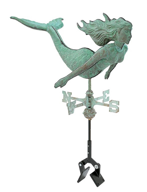 "(MDWV-518) Cottage Size 18"" Antiqued Copper Mermaid Weather Vane  Shown with Aluminum Roof Bracket"
