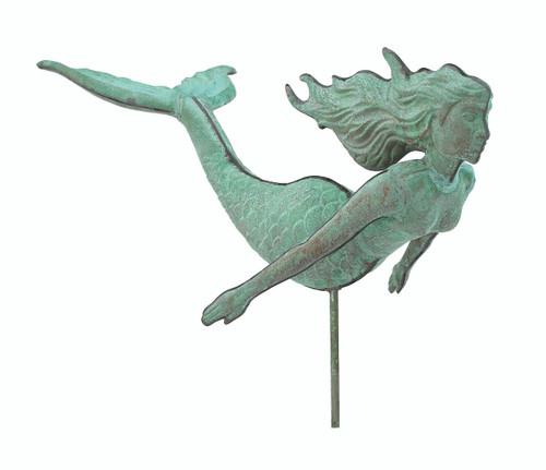 "(MDWV-518) Cottage Size 18"" Antiqued Copper Mermaid Weather Vane"
