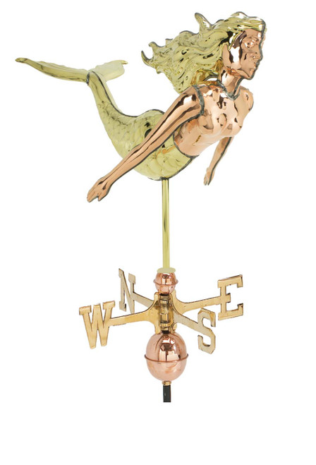 "(MDWV-519P) Cottage Size 17.5"" Two-Tone Copper Mermaid Weather Vane"
