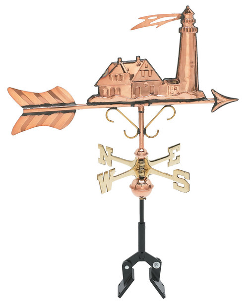 "(MDWV-501P) Cottage Size 12.5"" Copper Lighthouse Weather Vane"