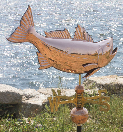 "(MDWV-309P) Large 28"" Copper Jumping Bass Weather Vane"