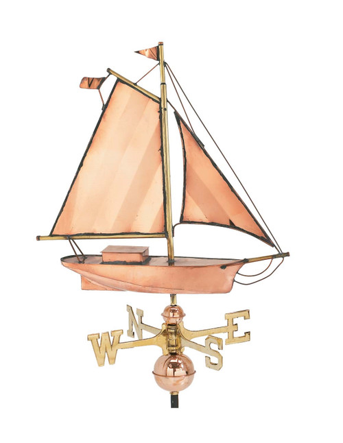 "(MDW-167P) Large 21"" Copper Sailboat Weather Vane"