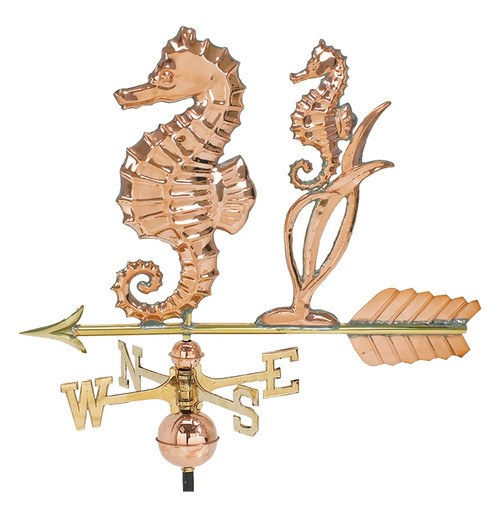 "(MDWV-366P) Large 24"" Copper Seahorse Weather Vane"