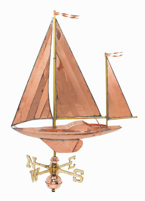 "(MDWV-347P) Extra Large 31"" Copper Sailboat Weather Vane"
