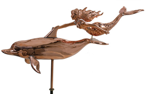 "(MDWV-343P) Extra Large 56"" Two Tone Copper Mermaid and Dolphin Weather Vane"