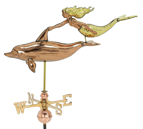 "(WV-373P 3D) Large 31"" Copper Dolphin and Mermaid Weather Vane"