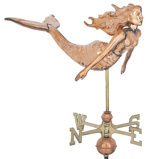 "(MDWV-306P 3D) Extra Large 30"" Copper Mermaid Weather Vane"