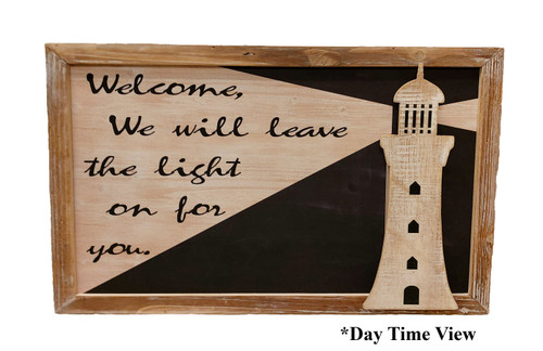 "(MP-2044) 3 Dimensional ""Welcome"" Lighthouse Wooden Wall Art with LED Back Lighting - Daytime View"