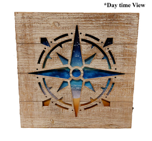 (MP-2047) 3 Dimensional Compass Rose Wooden Wall Art with LED Back Lighting - Daytime View