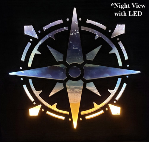 3 Dimensional Compass Rose Wooden Wall Art with LED Back Lighting - Nighttime View