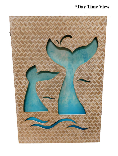 (MP-2048) 3 Dimensional Whale Tails Wooden Wall Art with LED Back Lighting - Daytime View
