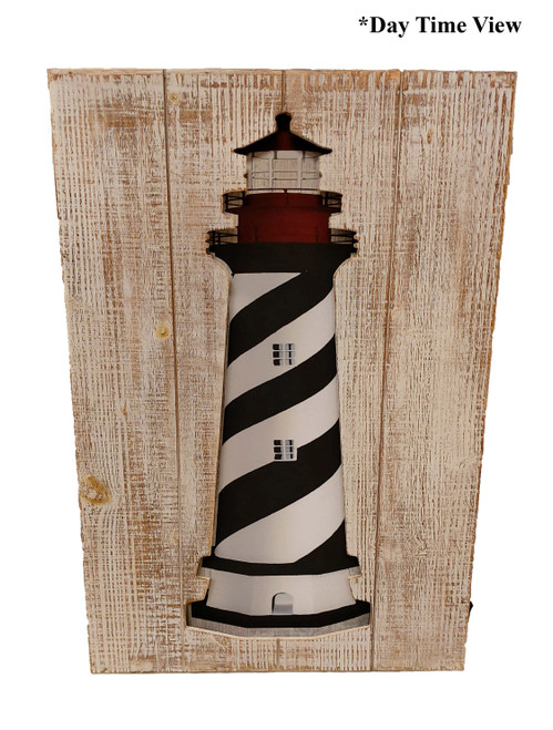 (MP-2049) 3 Dimensional Lighthouse Wooden Wall Art with LED Back Lighting- Daytime View