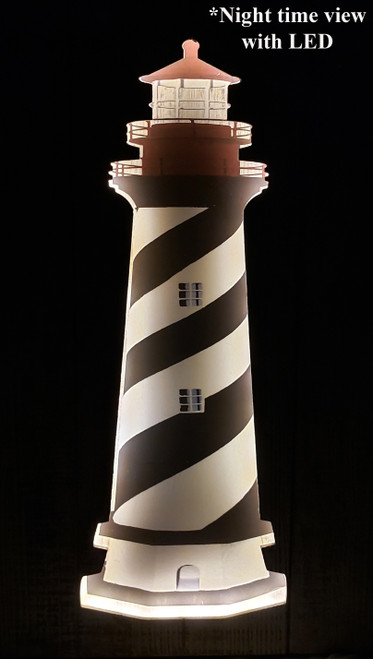 (MP-2049) 3 Dimensional Lighthouse Wooden Wall Art with LED Back Lighting- Nighttime View
