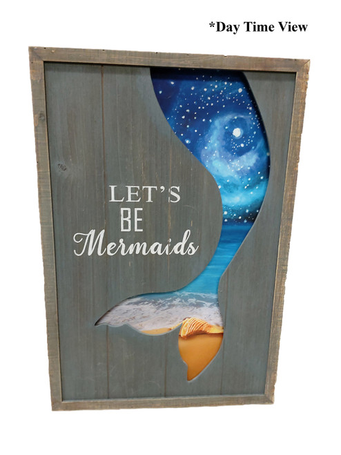 "(MP-2050) 3 Dimensional ""Let's Be Mermaids"" Wooden Wall Art with LED Back Lighting - Daytime View"