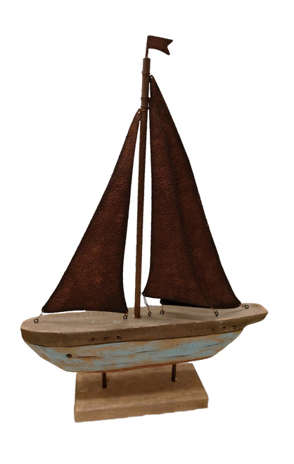 """(MS-790) 22"""" Wooden Sailboat with Metal Sail"""