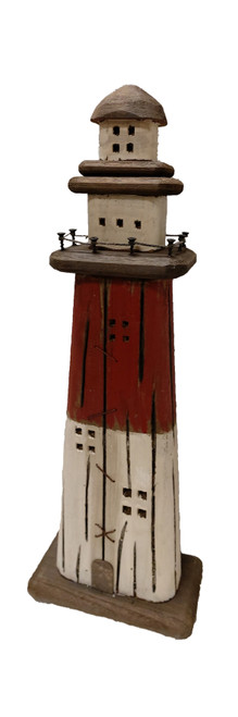 "(WL-071) 20"" Antique Wooden Lighthouse with Metal Accents"