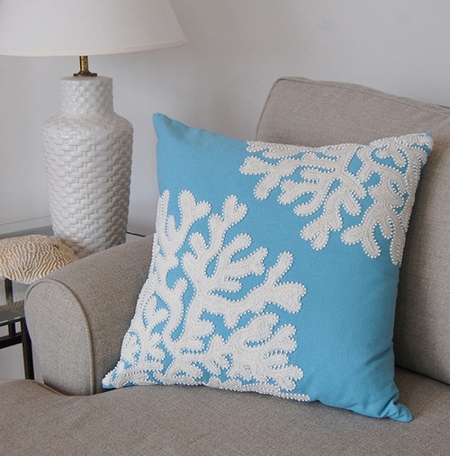 Cottage Blue Coral Indoor Beaded Throw Pillow