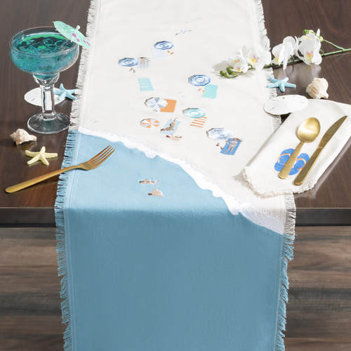 Beach Scene Embroidered Table Runner - Lifestyle