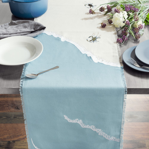 Baby Crab and Beach Waves Table Runner - Lifestyle