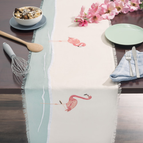 Flamingo Embroidered Table Runner - Lifestyle