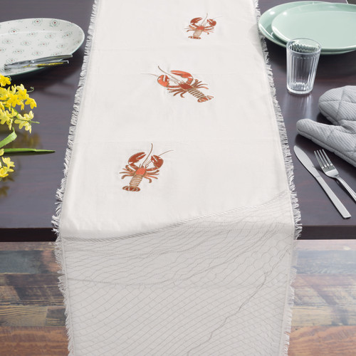 Lobster Embroidered Table Runner - Lifestyle