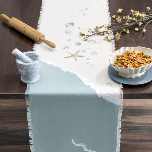 Seashell and Wave Embroidered Table Runner - Lifestyle