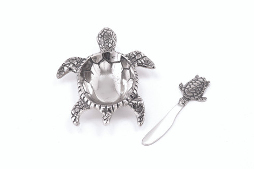 (41638) Aluminum Turtle Dish and Spreader Set with Polished Nickel Finish