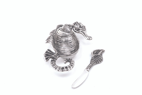 (41639) Aluminum Seahorse Dish and Spreader Set with Polished Nickel Finish