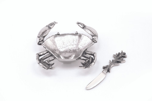 (41643) Aluminum Crab Dish and Spreader Set with Polished Nickel Finish