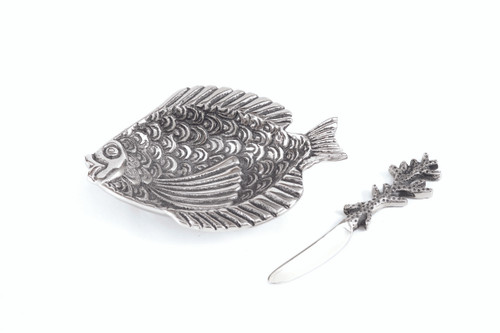(41644) Aluminum Fish Dish and Spreader Set with Polished Nickel Finish