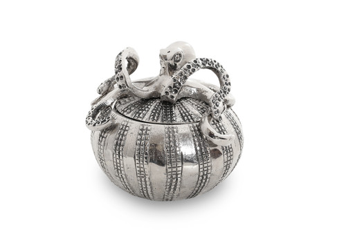 (41920) Aluminum Octopus and Sea Urchin Covered Dish with Polished Nickel Finish