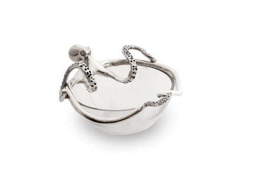 (41921) Aluminum Octopus Glass Bowl with Polished Nickel Finish