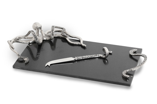 (41923) Marble Octopus Cheese Board with Knife Set
