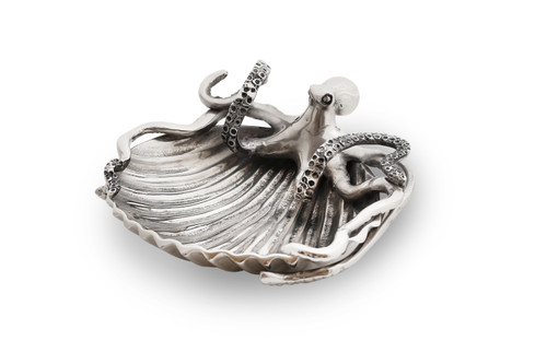 (41927) Aluminum Octopus and Shell Dish with Polished Nickel Finish